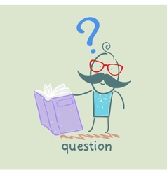 man with a question mark reads the book vector image vector image