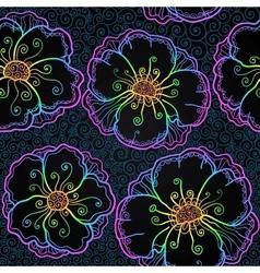 Rainbow doodle poppy flowers seamless pattern vector image
