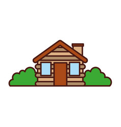 Wooden cabin house bushes chimney camp exterior vector