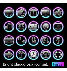 black glossy icon set 2 vector image vector image