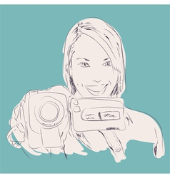 camera girl vector image