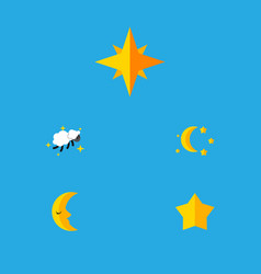 Flat icon bedtime set of moon bedtime asterisk vector