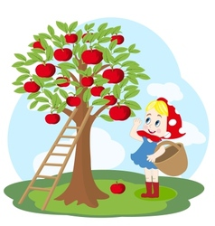 Girl with basket and apple tree vector image vector image