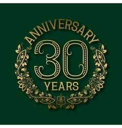 Golden emblem of thirtieth years anniversary vector image vector image