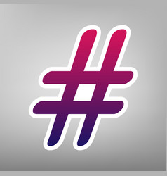hashtag sign purple gradient vector image