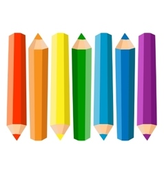 Set Of Seven Colored Pencils On White Background vector image vector image