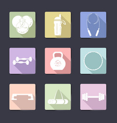 sport icon set fitness equipment vector image vector image