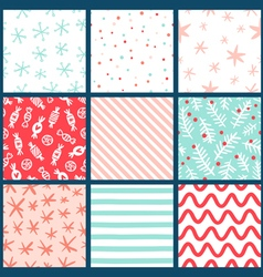 Winter holidays seamless patterns collection vector image vector image