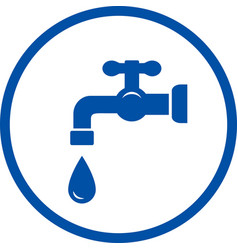 Blue icon with faucet and drop vector