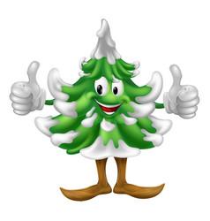 Christmas tree cartoon man vector