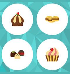 flat cake set of sweetmeat cake cupcake and vector image vector image