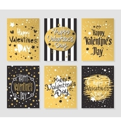 Happy Valentines Day gold and black greeting cards vector image vector image