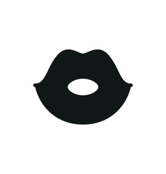 simple black lips icon on white background vector image