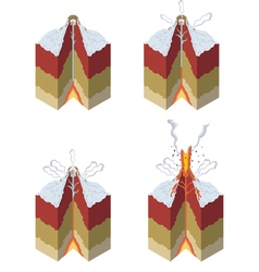 Stages of a volcano vector image vector image