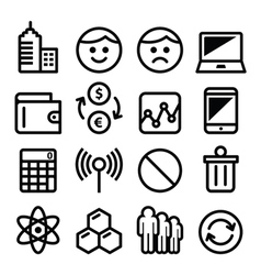 Web menu internet line stroke icons set - tech vector image vector image