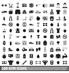 100 gym icons set in simple style vector