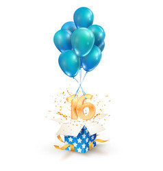 16th years celebrations greetings sixteen vector image