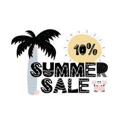 advert card with lettering 10 summer sale in vector image