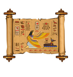 Ancient egypt papyrus scroll with wooden rods vector