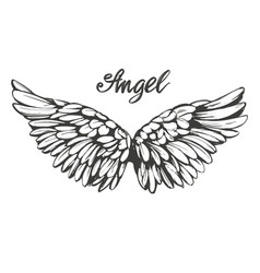 angel wings icon sketch religious calligraphic vector image