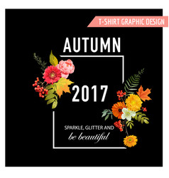 Autumn t-shirt floral design with maple leaves vector