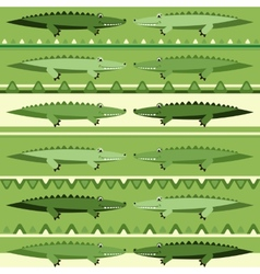Background with green crocodiles vector