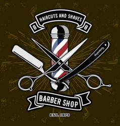 Barber shop logo with barber pole vector