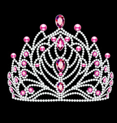 Beautiful diadem crown tiara female with pearls vector