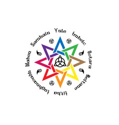 Book shadows wheel year wiccan paganism vector
