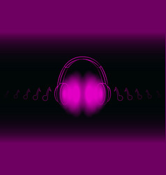 bright glowing neon headphones isolated on pink vector image