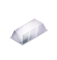 Bright realistic glossy silver bar in isometric vector