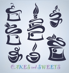 cakes sweets and drinks silhouettes vector image vector image