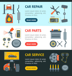cartoon car service banner horizontal set vector image
