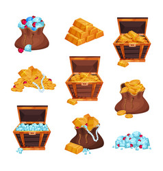 Cartoon set with full bags and wooden chests of vector