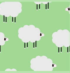 Cartoon sheep green cute pattern vector