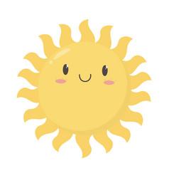 cartoon sun summer weather icon design white vector image