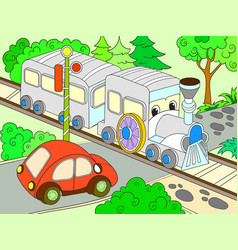 cartoon train and car for children color vector image