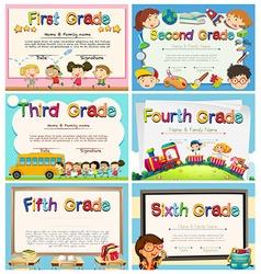 Certificates for children in primary school vector