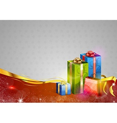 christmas background two color gifts red vector image