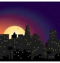 City at night with yellow moon vector