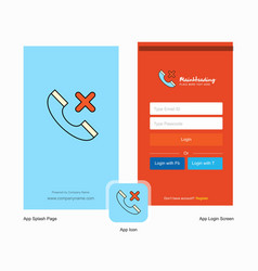 Company medical call splash screen and login page vector