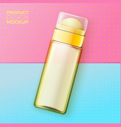 Cosmetic deodorant bottle on bright paper vector