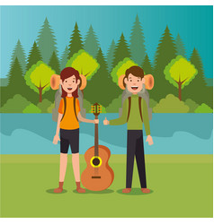 couple scouts in the camping zone scene vector image