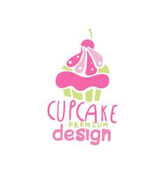 cupcake logo design emblem in pink colors for vector image