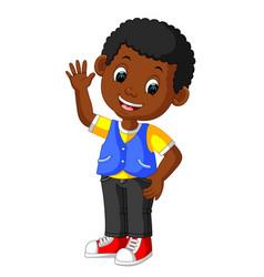 cute boy cartoon good posing vector image