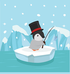 Cute penguin fishing on ice floe vector