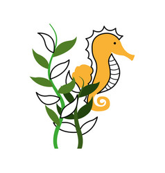 Cute seahorse isolated icon vector