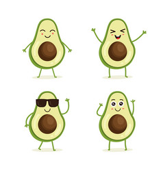 cute set avocado fruit character vector image