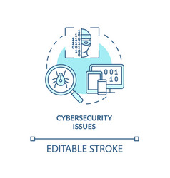 Cybersecurity issue blue concept icon vector