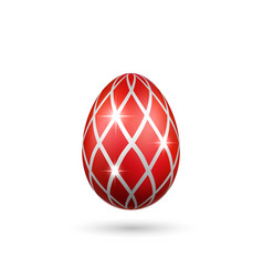 Easter egg 3d icon red silver egg isolated white vector